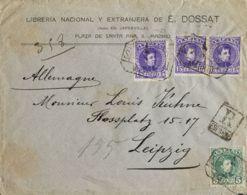 España. Alfonso XIII Correo Certificado. Sobre 242, 246(3). 1909. 5 Cts Verde, 15 Cts, Tres Sellos. Certificado De MADRI - 1889-1931 Reino: Alfonso XIII