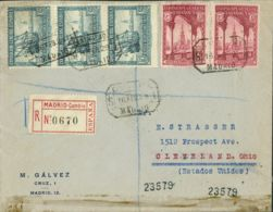 España. Alfonso XIII Correo Certificado. Sobre 436(2), 438(3). 1929. 5 Cts, Dos Sellos Y 15 Cts, Tira De Tres. Certifica - 1889-1931 Reino: Alfonso XIII