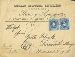 España. Alfonso XIII Correo Certificado. Sobre 248. 1903. 25 Cts Azul, Pareja. Certificado De MADRID A ALEMANIA. MAGNIFI - 1889-1931 Reino: Alfonso XIII