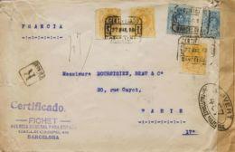 España. Alfonso XIII Correo Certificado. Sobre 271(3), 274(2). 1918. 15 Cts Amarillo, Tres Sellos Y 25 Cts Azul, Dos Sel - 1889-1931 Reino: Alfonso XIII