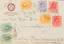 España. Alfonso XIII Correo Certificado. Sobre 268(2), 269(2), 271(2), 273. 1922. 5 Cts Verde, Dos Sellos, 10 Cts Rojo, - 1889-1931 Reino: Alfonso XIII