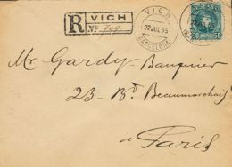 España. Alfonso XIII Correo Certificado. Sobre 252. 1905. 50 Cts Azul Verdoso. Certificado De VICH A PARIS. Al Dorso Lle - 1889-1931 Reino: Alfonso XIII