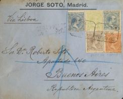 España. Alfonso XIII Correo Certificado. Sobre 215, 217, 219, 220, 221. 1895. 5 Cts Azul, 10 Cts Castaño, 15 Cts Castaño - 1889-1931 Reino: Alfonso XIII