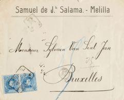 España. Alfonso XIII Correo Certificado. Sobre 248(2). 1910. 25 Cts Azul, Pareja. Certificado De MELILLA A BRUSELAS (BEL - 1889-1931 Reino: Alfonso XIII