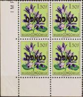 Congo (República Democrática). MNH **Yv 389(4). 1960. 1'50 F Multicolor, Bloque De Cuatro. SOBRECARGA INVERTIDA. MAGNIFI - Congo - Brazzaville