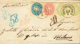 Lombardía Venecia. Sobre 24(2), 25, 26. 1864. 3 S Verde, Pareja, 5 S Rosa Y 10 S Azul (doblez De Archivo). MONTEBELLUNA - Sellos