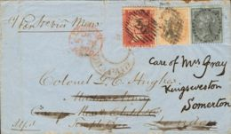 India Británica. Sobre 14, 15. 1859. 2 A Naranja Y 4 A Negro. INDIA BRITANICA A LONDRES, Reexpedida A KNIGSWESTON, Aplic - Sellos