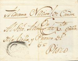 Perú. Sobre . (1814ca). CAÑETE A PISCO. Marca Ovalada CAÑETE, En Negro (P.E.1), (Colareta 1). MAGNIFICA Y RARISIMA. - Perú