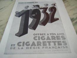 ANCIENNE PUBLICITE POUR LE NOUVEL AN CIGARE CIGARETTE 1931 - Tobacco (related)
