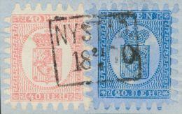 Finlandia. Fragmento 8, 9. 1866. 20 P. Azul Y 40 P. Rosa, Sobre Fragmento. Matasello NYSTAD / 21-8-1870. MAGNIFICO. - Filipinas