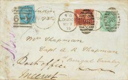 Gran Bretaña. Sobre 26, 53. 1875. 1 P Rojo Carmín Plancha 108 Y 1 Sh Verde Plancha 11. LONDRES A CAWNPORE (INDIA), Y Ree - Gran Bretaña