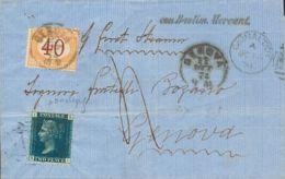 Gibraltar. Sobre Gran Bretaña 27. 1874. 2 P Azul Plancha 14. GIBRALTAR A GENOVA (ITALIA). Matasello PARRILLA NºA26, Tasa - Gibilterra