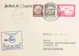 Zeppelin. Sobre Yv Aéreo 35. 1933. 1 M AEREO Sobre Tarjeta Postal Dirigida A HUELVA. En El Frente Marcas (Sieger 219 Y 2 - Zeppelines
