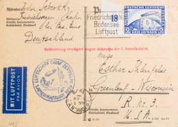 Zeppelin. Sobre Yv Aéreo 36. 1929. 2 M AEREO Sobre Tarjeta Postal De La Base Aérea De FRIEDRICHSHAFEN A WISCONSIN (USA). - Zeppelines