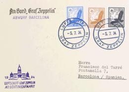 Zeppelin. Sobre Yv Aéreo 51, 47, 45. 1934. 100 P, 25 P Y 15 P AEREOS Sobre Tarjeta Postal Dirigida A BARCELONA. En El Fr - Zeppelines