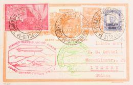 Zeppelin. Sobre Yv 252, 171, Aéreo 29. 1933. 3500 Reis AEREO, 200 Reis Y 100 Reis Sobre Tarjeta Entero Postal De 100 Rei - Zeppelines