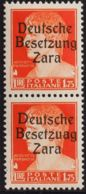 Zara. MNH **Yv 11(2). 1943. 1'75 Liras Naranja, Pareja. Un Sello Presenta La Variedad BESETZUAG. MAGNIFICA Y RARA. (Sass - Sellos