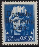 Zara. MNH **Yv 7. 1943. 35 Cts Azul (Tipo II). MAGNIFICO Y RARO. (Sassone 7 II) Yvert 2013: 525 Euros. - Sellos