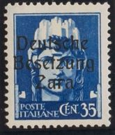 Zara. MNH **Yv 7. 1943. 35 Cts Azul (Tipo I). MAGNIFICO Y RARO. (Sassone 7) Yvert 2013: 525 Euros. - Sellos