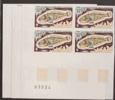 Tierras Australes-TAAF. MNH **Yv 43/45(4). 1972. Serie Completa, Bloque De Cuatro, Esquina De Pliego. SIN DENTAR. MAGNIF - Sin Clasificación