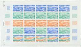 San Pedro Y Miquelón. MNH **Yv 408(25). 1970. 30 F Multicolor, Hoja Completa De Veinticinco Sellos. ENSAYOS DE COLOR Y S - St.Pedro Y Miquelon