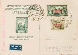"""Polonia, Aéreo. Sobre Yv 9A/B. 1934. Serie Completa """"CHALLENGE 1934"""". Tarjeta Postal De """"Correo Por Globo"""" De VARSOVIA A - Polonia"""