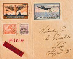 Polonia. Sobre Yv 216, 230. 1921. 10 M Rojo Castaño, 3 Mk Sobre 40 F Violeta Y Viñetas De 25 M Y 100 M AEROTARG. POZNAN - Sin Clasificación