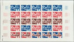 Polinesia. MNH **Yv 66(25). 1969. 9 F Multicolor, Hoja Completa De Veinticinco Sellos. ENSAYOS DE COLOR Y SIN DENTAR, En - Polinesia Francesa