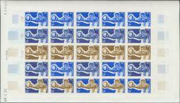 Polinesia. MNH **Yv 66(25). 1969. 9 F Multicolor, Hoja Completa De Veinticinco Sellos. ENSAYOS DE COLOR Y SIN DENTAR, En - Polynésie Française
