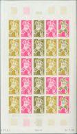 Polinesia. MNH **Yv 69(25). 1969. 22 F Multicolor, Hoja Completa De Veinticinco Sellos. ENSAYOS DE COLOR Y SIN DENTAR, E - Polynésie Française