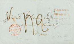 Panamá. Sobre Yv . 1850. PAITA (PERU) A PARIS. Doble Marca De Tránsito PANAMA / TRANSIT, En Negro (con Fecha) Y En Rojo. - Panamá