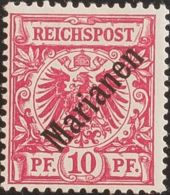 Marianas. MH *Yv 3B. 1899. 10 P Rojo (48º). MAGNIFICO. (Mi3I 220 Euros) - Islas Maríanas