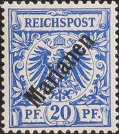 Marianas. MH *Yv 4B. 1899. 20 P Azul (48º). MAGNIFICO. (Mi4I 220 Euros) - Islas Maríanas