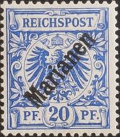 Marianas. MH *Yv 4B. 1899. 20 P Azul (48º). MAGNIFICO. (Mi4I 220 Euros) - Isole Marianne