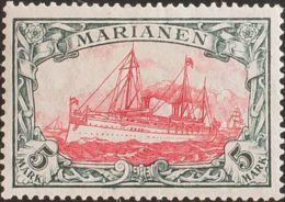 Marianas. MNH **Yv 21. 1916. 5 M Verde Negro Y Carmín (25:17). MAGNIFICO. (Mi21B 250 Euros) - Islas Maríanas