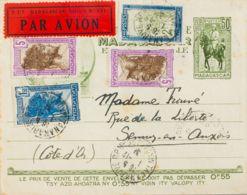 Madagascar. Sobre Yv 109, 176, 177(2). 1931. 50 Cts Verde Oliva Sobre Entero Postal Correo Aéreo Certificado De TANANARI - Sellos