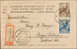 Letonia. Sobre Yv Rusia 137/38. 1919. 35 K Azul Y 70 K Castaño De Rusia. Tarjeta Postal Certificada Interior De RIGA. MA - Sellos