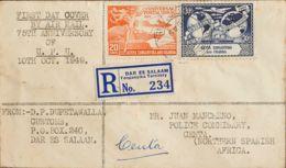 Kenia, Uganda Y Tanganica. Sobre Yv 77, 78. 1949. 20 Cts Naranja Y 30 Cts Azul. Certificado De DAR ES SALAM A CEUTA. Al - Kenya, Uganda & Tanganyika