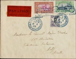 Indochina Francesa. Sobre Yv 141, 144, 110. 1929. 25 Cts Castaño Y Lila Rosa, 50 Cts Verde Y Gris Y 11 Cts Violeta Y Neg - Stamps