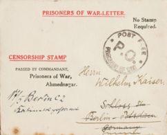 """India Británica, Correo De Campaña / Militar. Sobre . 1915. Sobre De """"Prisioneros De Guerra"""" De AHMEDNAGAR A BERLIN (ALE - Tokens Of Communes"""