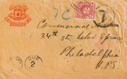 India Británica. Sobre Yv 134(3). 1931. 1 A Castaño, Tres Sellos (al Dorso). DEHRADUN A PHILADELPHIA (U.S.A.). Tasada A - Fichas De Municipios