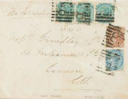 India Británica. Sobre Yv 19, 21, 23(3). 1880. ½ A Azul, 1 A Castaño Y 4 A Verde, Tres Sellos. Dirigida A LONDRES. Matas - Fichas De Municipios