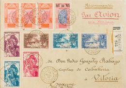 Guinea Francesa. Sobre Yv 142/44. 1938. 2 Fr Rosa Lila, 3 Fr Azul Verde, 5 F Violeta Y Diversos Valores. Certificado De - Sellos