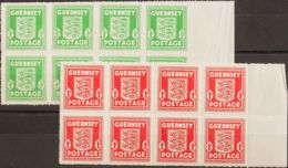 Guernsey, Ocupación Alemana. MNH/MH **/*Yv 1(8), 2(8). 1941. ½ P Verde Amarillo Y 1 P Naranja Rojo, Bloques De Ocho. MAG - Sellos