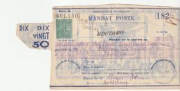 Mandat Poste / Entier Postal Au Type Semeuse /St Flour,Cantal/ Montchamp - 1903-60 Säerin, Untergrund Schraffiert