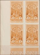Etiopía. MNH **Yv 181(4). 1930. 1 G Naranja, Bloque De Cuatro, Esquina De Pliego. SIN DENTAR. MAGNIFICO Y RARO. Yvert 20 - Etiopía