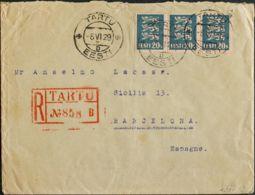 Estonia. Sobre Yv 98(2), 105(3). 1929. 2 S Verde Amarillo, Dos Sellos (al Dorso) Y 20 S Azul, Tres Sellos. Certificado D - Estonia