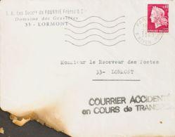 Correo Aéreo Accidentado. Sobre Yv . 1969. 40 Cts Carmín. Correo Aéreo De PARIS A LORMONT. Avión De La Linea PARIS-POITI - Aviones
