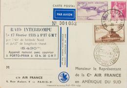 Correo Aéreo Accidentado. Sobre Yv 260, 289, Aéreo 7. 1935. 5 Fr Castaño, 1'75 Fr Rosa Y 2'25 Fr Lila. Tarjeta Postal De - Aviones