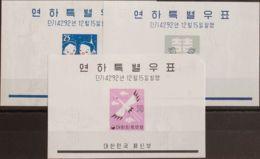 Corea Del Sur, Hoja Bloque. MNH **Yv 16/18. 1959. Serie Completa, Hojas Bloque. MAGNIFICAS. Yvert 2013: 100 Euros. - Corea Del Sur